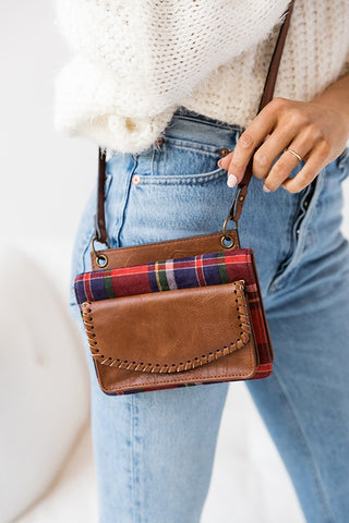 Whipstitch Plaid Crossbody