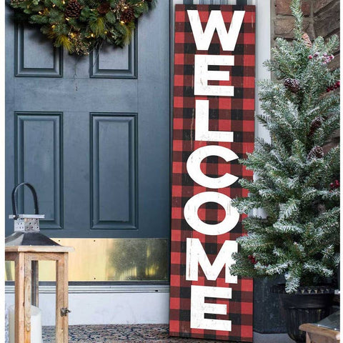Buffalo Plaid Welcome Porch Sign