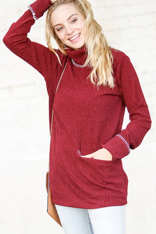 Burgundy Turtleneck Tunic