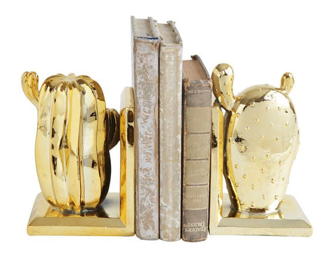 Electroplated Gold Cactus BookEnds