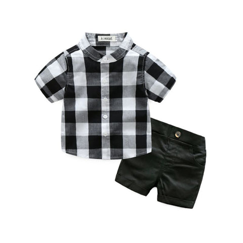 2 Piece Checked Shirt Set