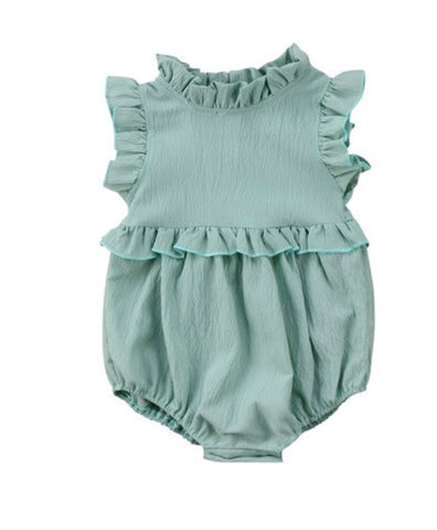 Riley Ruffle Romper- Green
