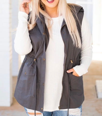 Drawstring Anorak Vest-2 Colors