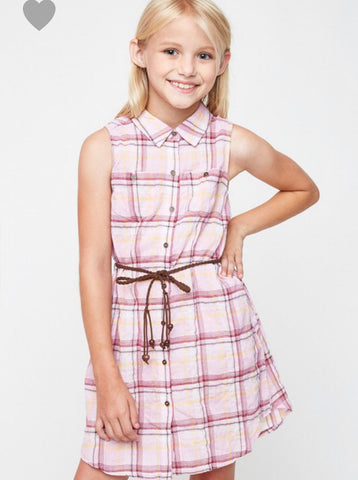Juniors Pink Plaid Dress