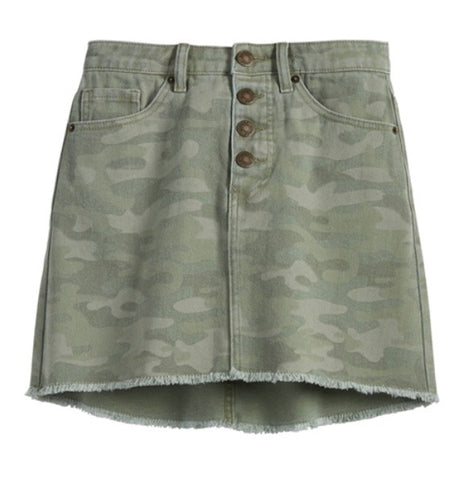 Windsor Sage Camo Button-Fly Skirt
