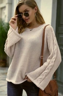 Sweater with braided sleeve detail
