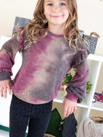 Kid's Ruffle Detail Tie Dye Top