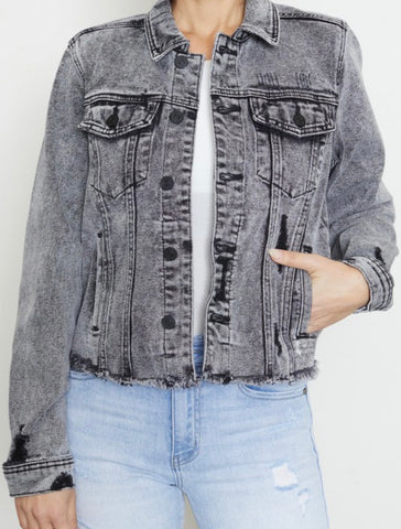 Black Acid Washed Denim Jacket