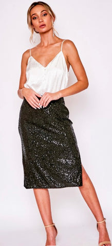 Black Sequin Midi Skirt with Side Slit