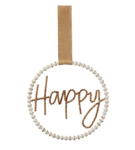 Happy Beaded Door Hanger