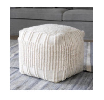 Indoor/Outdoor Ardwick Ivory Pouf