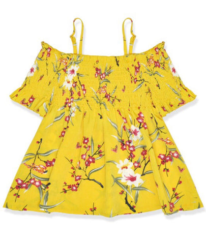 Toddler Yellow Cold Shoulder Top