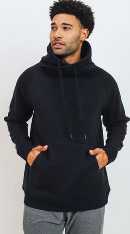 Men's Criss-Cross Cowl Neck Drawstring Pullover