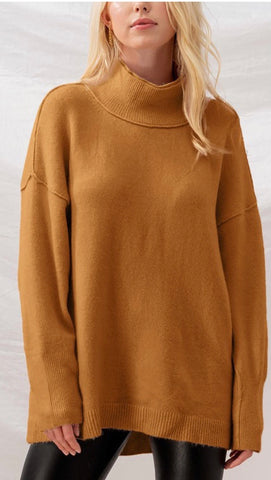 Double Layered Mock Neck Oversized Sweater