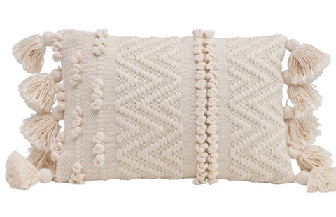 Textured Lumbar Pillow w/ Poms and Tassels