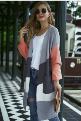 Color Block Long Open Sweater with Pockets