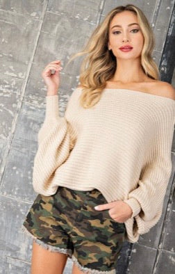 Oatmeal Boatneck Sweater with Balloon Sleeves