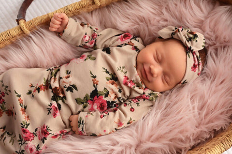 Ava Floral Knotted Newborn Gown
