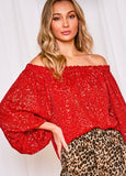 Red Sequin Off The Shoulder Top