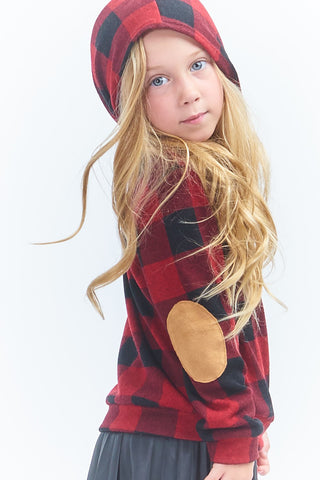 Plaid Elbow Patch Hoodie