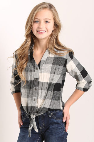 Juniors Plaid Button Up