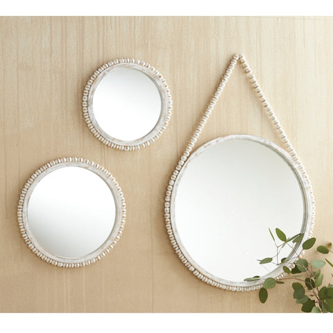 Beaded Wood Mirrors-3 Sizes
