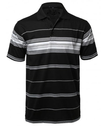 Men's Black Striped Polo
