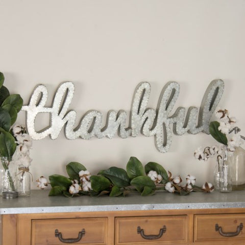 Metal Thankful Wall Decor