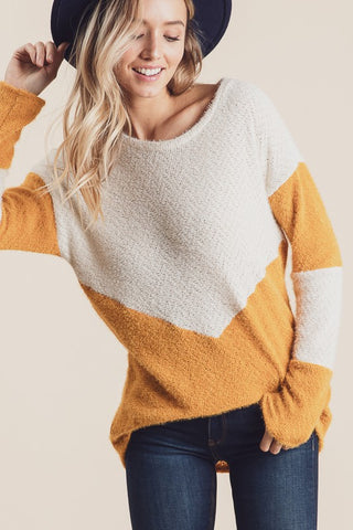 Mustard ColorBlock Brushed Sweater
