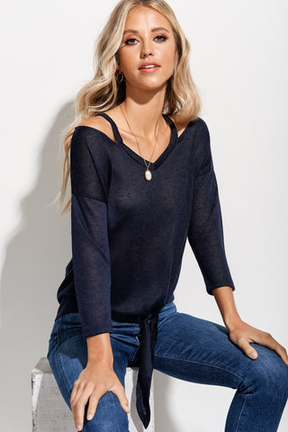 Navy Cold Shoulder Tie Crop