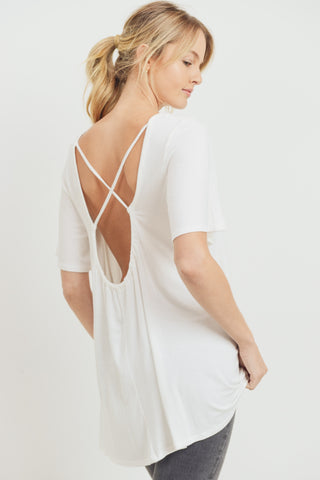 Open Back White Tee