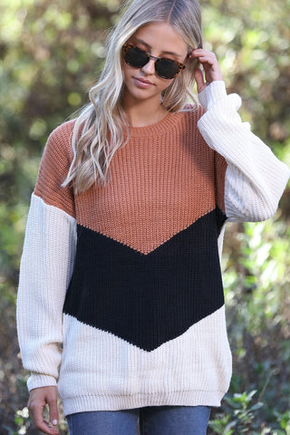 V Shape Color Block Sweater