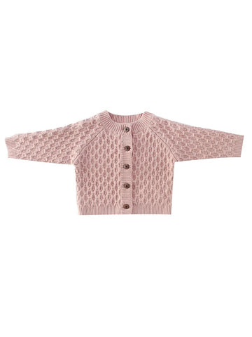 Light Pink Crocheted Baby Cardigan