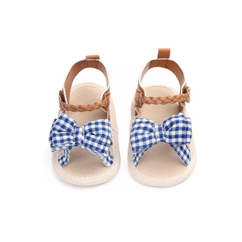 Blue Plaid Bow Sandals