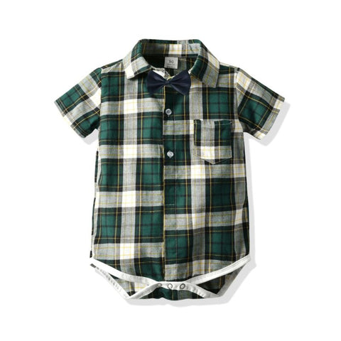 Plaid Boy Bodysuit with Bow Tie