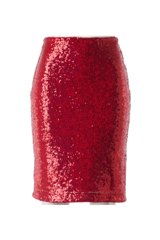 Red Sequin Midi Skirt