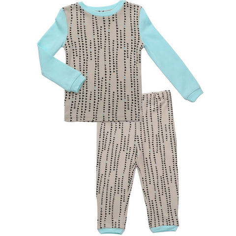 Distressed Lines Cotton Pajama Set