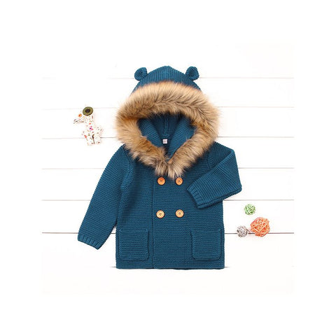 Blue Faux Fur Knitted Coat