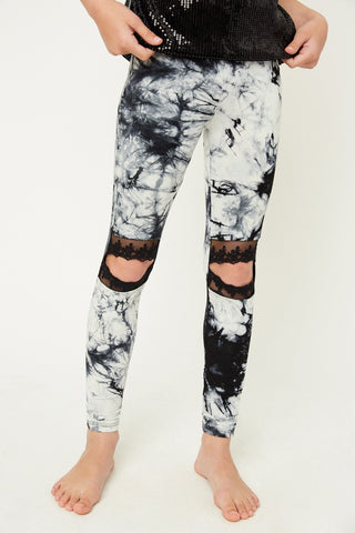 Tye Dye Lace Leggings-Juniors