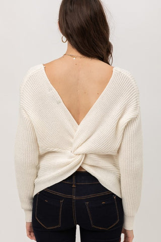 Twist Open Back Sweater-3 Colors Almost Sold OUT