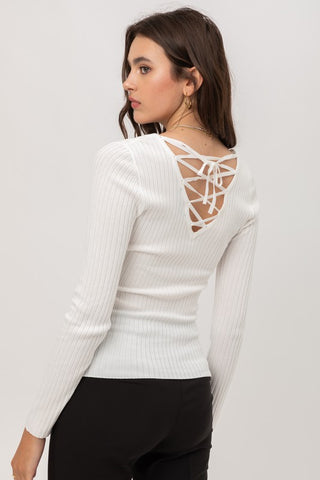 Long Sleeve Tie Back Top