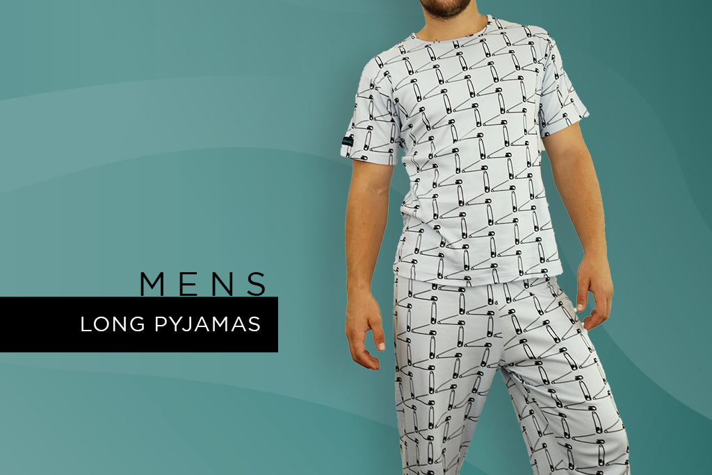 mens long pyjamas - winter safety first print design