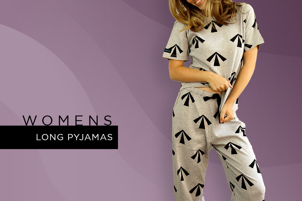 womens long pyjamas - winter the convicted print design