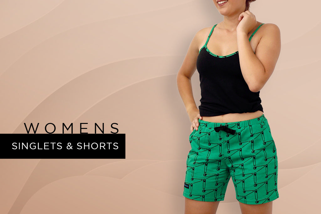 womens singlets/shorts - summer The Safety First print design