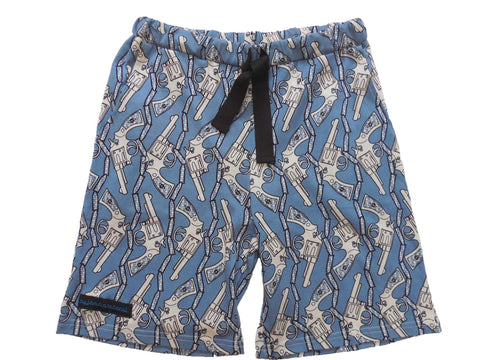 men's pyjama sleep shorts summer Guns light blue