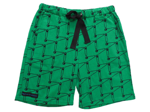 mens pyjama sleep shorts summer safety first green