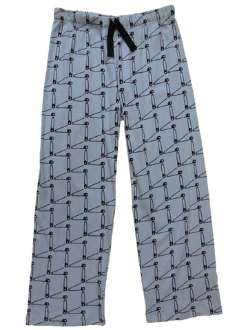 mens & womens long pyjama pants 190 gsm 'Safety First' blue grey