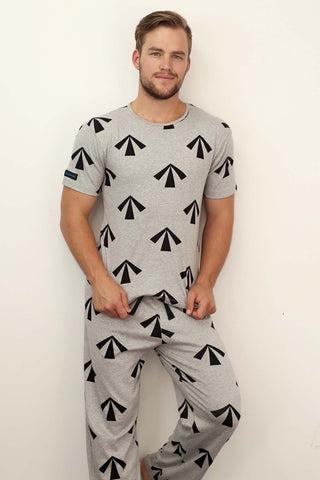 mens pyjama set 190 gsm warm convict arrow grey
