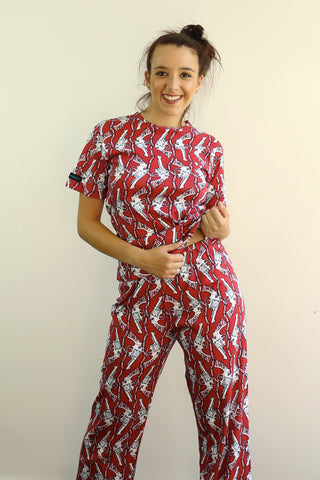 ladies' / women's pyjama set 190 gsm guns red