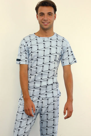 mens pyjama set 190 gms safety pins blue grey